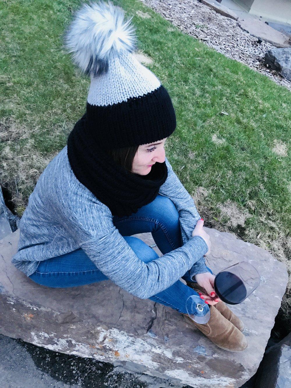 Black & Grey Double Knit Toque