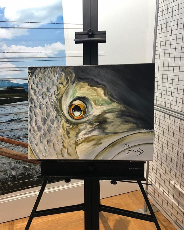 Live painting @orvis Freeport complete!  Was fun!  #alpolandart #oilpainting #fineart #flyfishingart #fishart #stripedbass #night #maine #saltwaterfishing #saltwaterflyfishing #summer #original