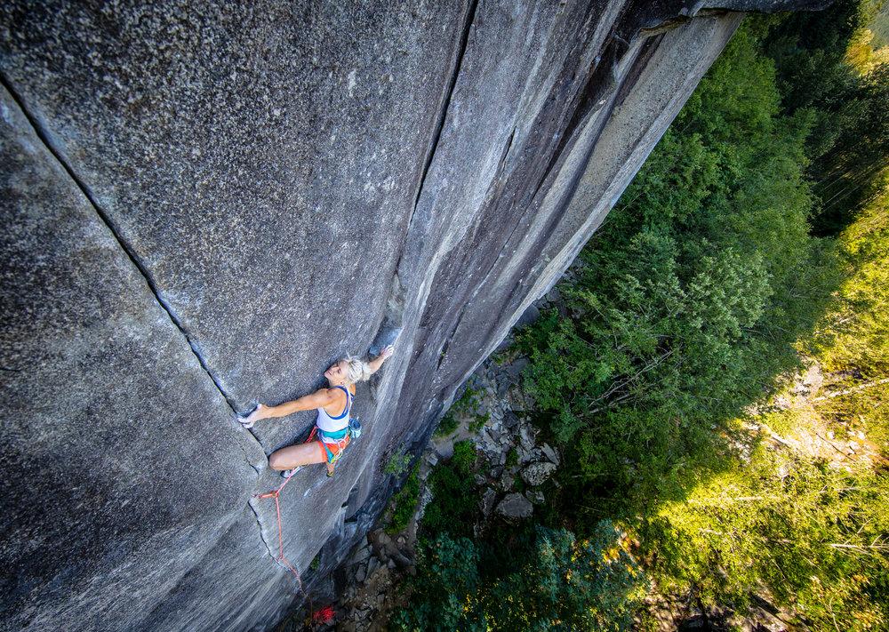 Brittany Goris sending the legendary climb City Park.