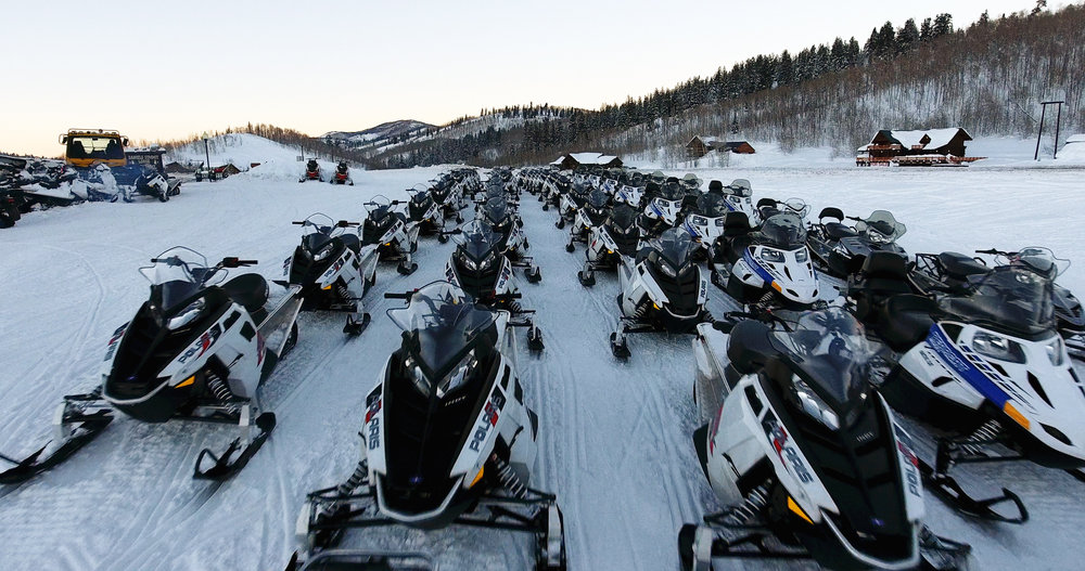 Our Fleet of over 100 Snowmobiles.