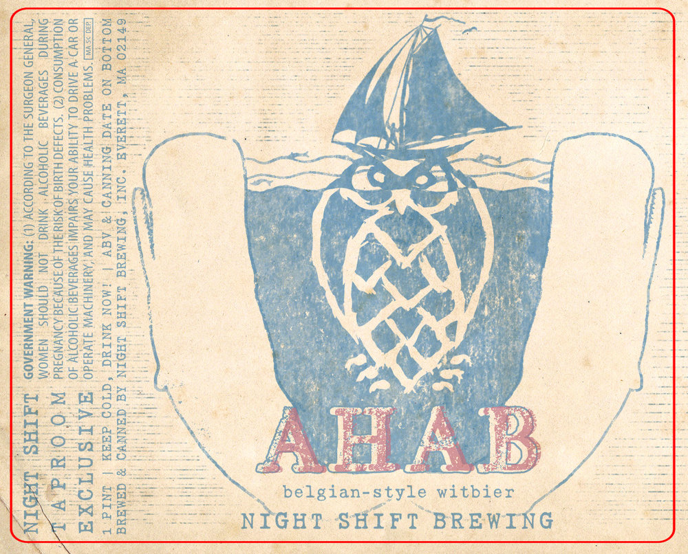 "Final label design, ""Ahab."""