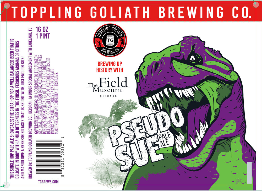 "Final label design collaboration with The Field Museum Chicago, ""Pseudo Sue"" by Sarah Hedlund"