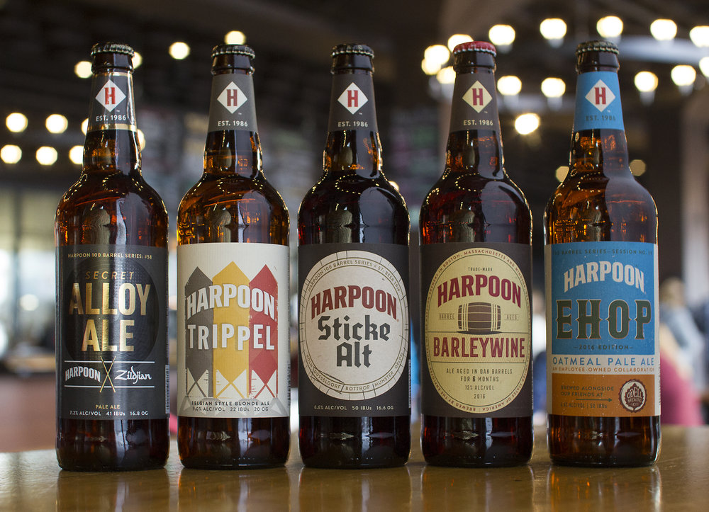 "Harpoon ""100 Barrel Series"" and small-batch packaging. Photo courtesy of Harpoon Brewery."
