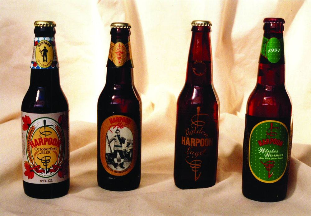 Harpoon bottles and branding from 1994. Photo courtesy of Harpoon Brewery.