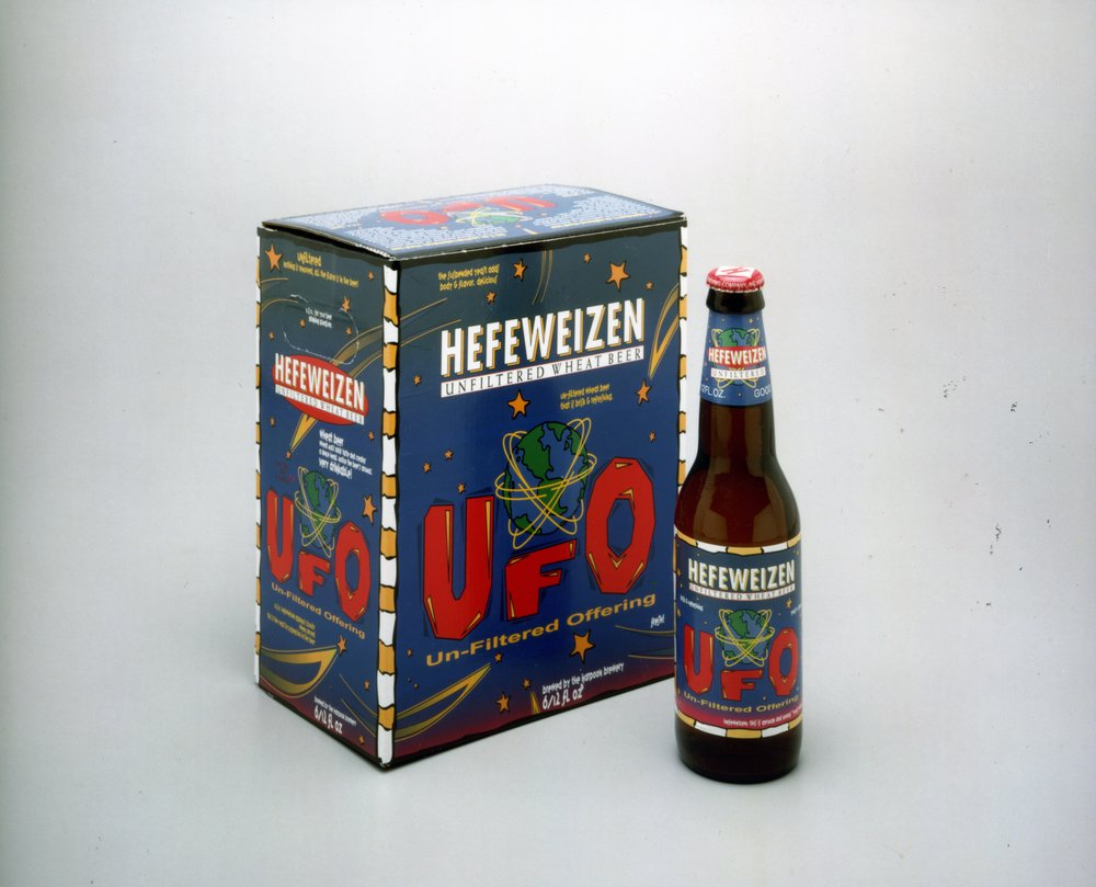 "UFO ""Hefeweizen"" packaging, 1998. Photo courtesy of Harpoon Brewery."