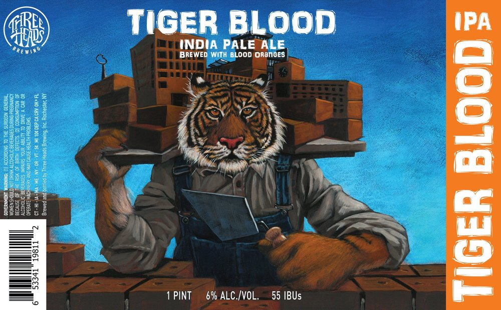 """Final label design, """"Tiger Blood"""" IPA collaboration with Rochester Institute of Technology"""