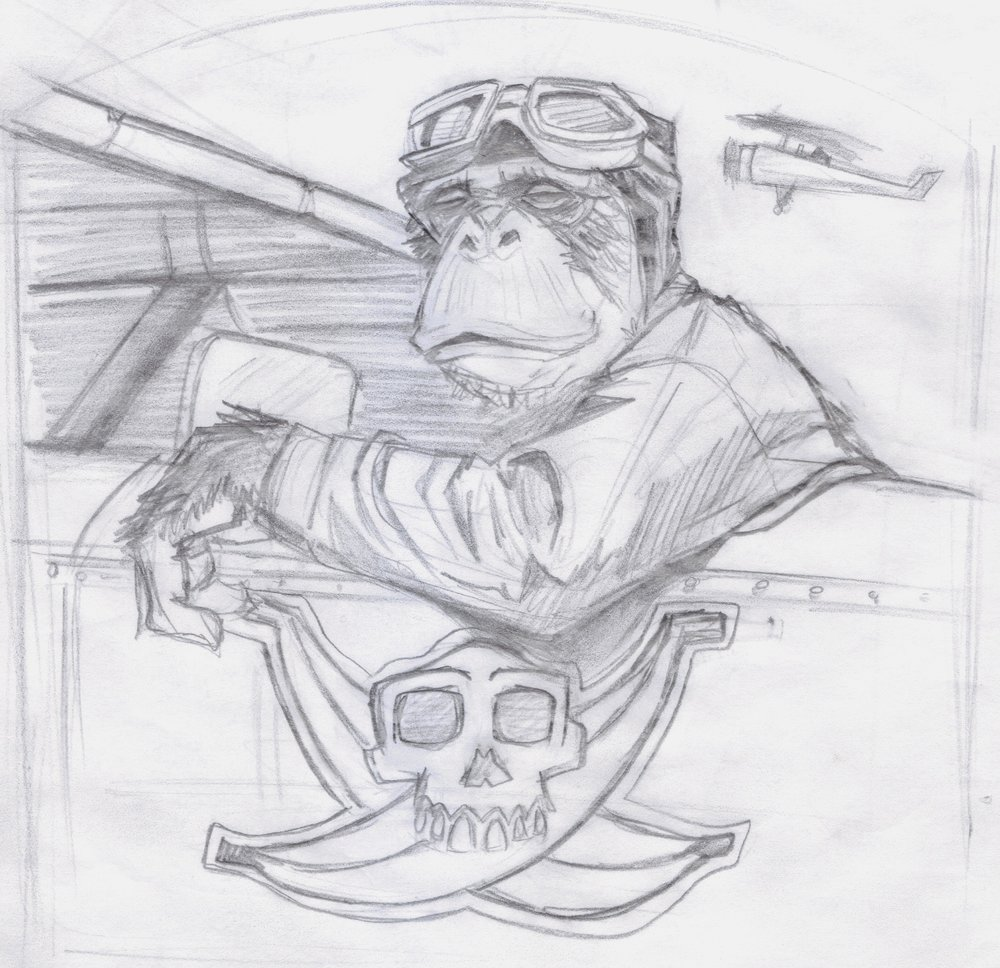 """Captain Banana"" development sketch by Allen Firlit"