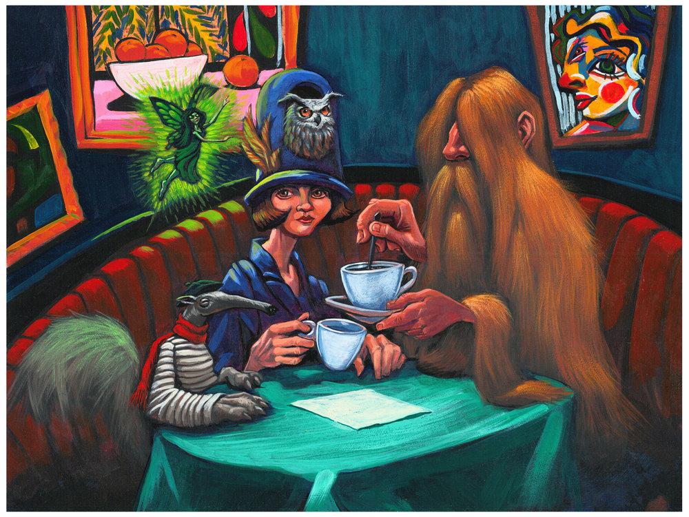 """""""Freak Cafe"""" Imperial Brown Ale illustration by Allen Firlit"""