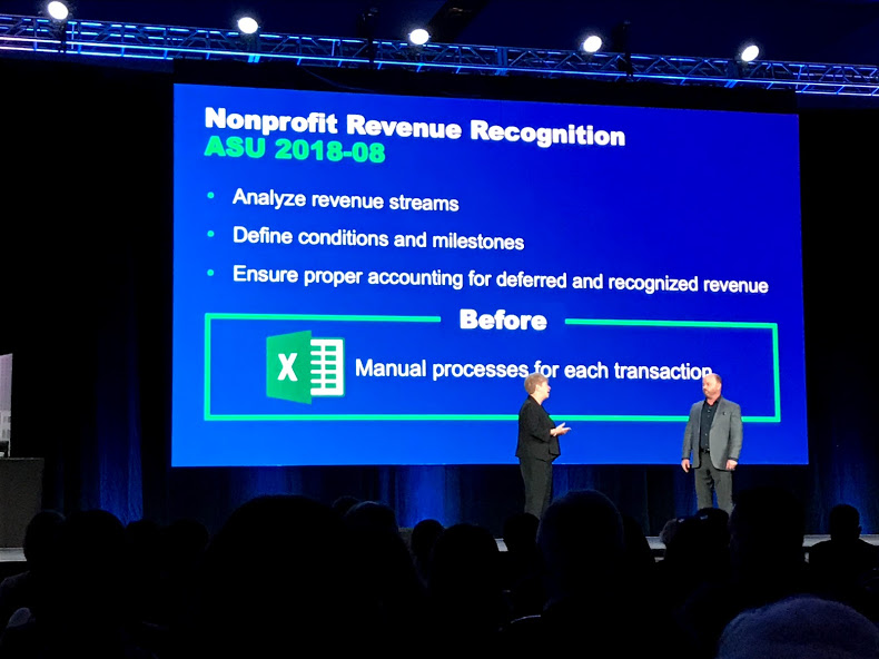 Joan Benson, Director of Industry Marketing, and Dan Miller, VP of Product Management, explaining not-for-profit revenue recognition at Sage Intacct Advantage.