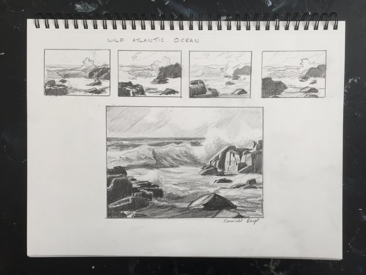 Wild Atlantic Ocean - pencil sketch - Samuel Earp.JPG