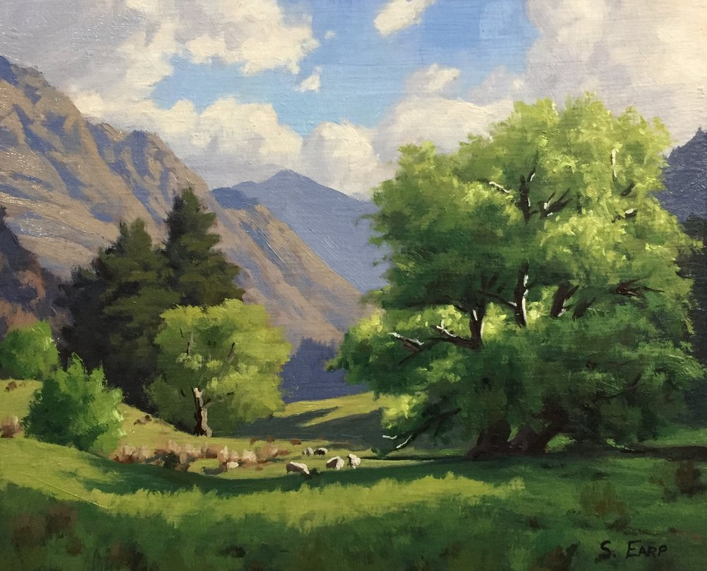 "Willow Trees, Queenstown, 8"" x 10"", oil on wooden panel"