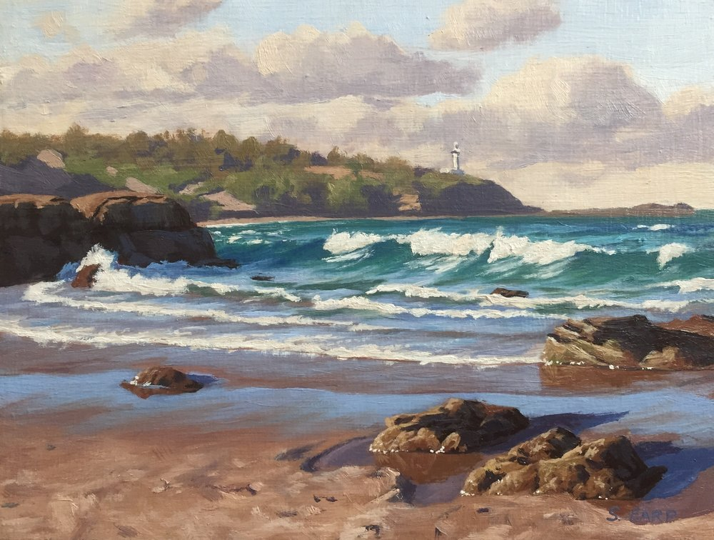 "Norah Head, Australia, 7.5"" x 10"", oil on wooden panel."