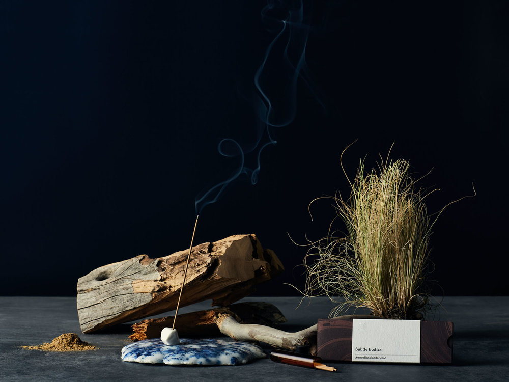 Subtle Bodies   A collection of incense and ritual-inspiring products grounded in purity, quality and tradition. Based in Melbourne and reaching to locations and specialists around the world, Subtle Bodies incense offer an exceptional, natural product - free of perfumes, oils and additives.    You can experience and purchase Subtle Bodies Australian Sandalwood incense in our studio space. A wonderful way to build your personal ritual.    subtle-bodies.com