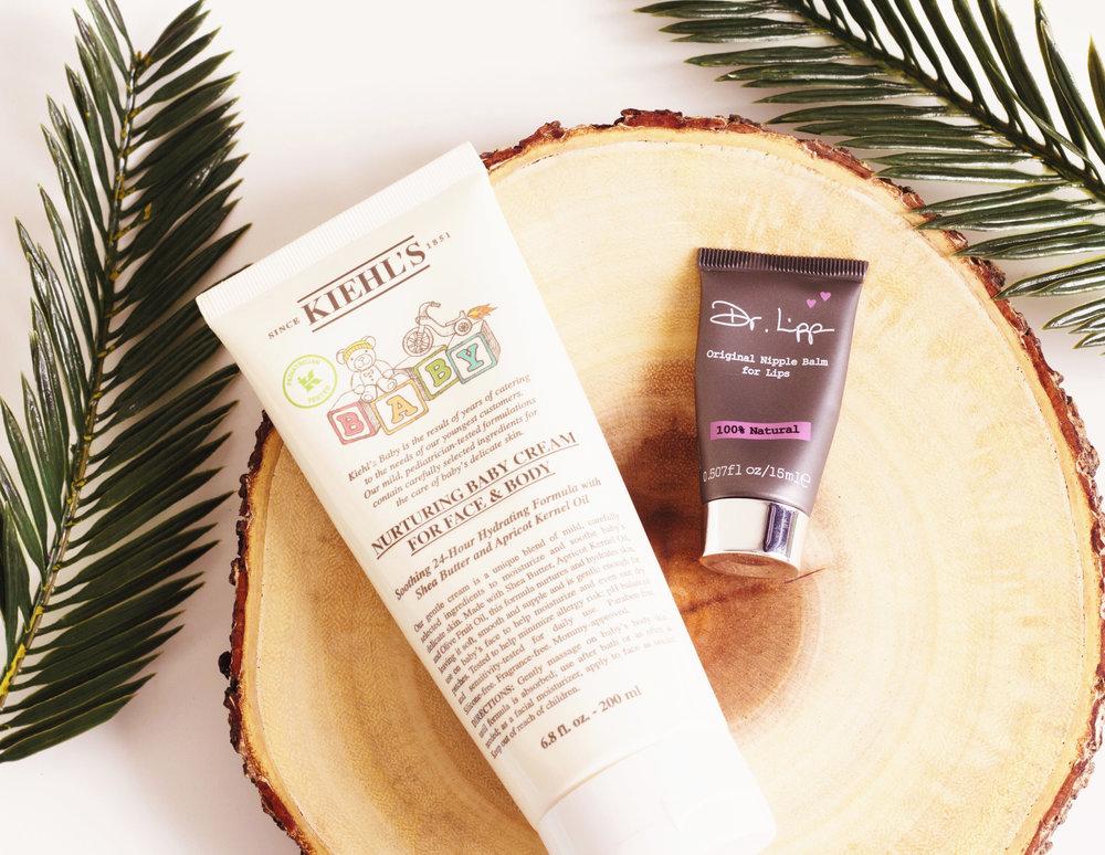 Kiehl's Nurturing Baby Cream For Face & Body (25$), Dr.Lipp Original Nipple Balm (12£)