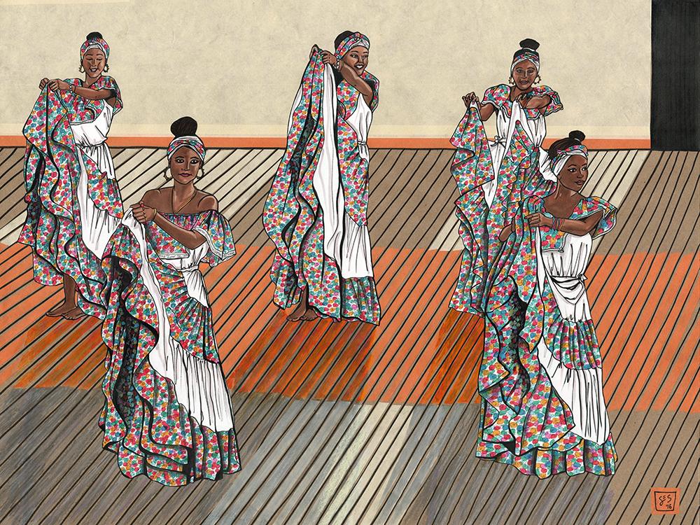 Cumbia Dancers, 18″x24″, 2016