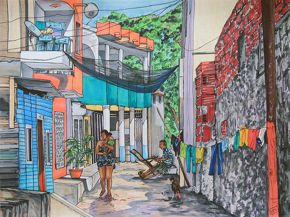 "Life in the Callejón, 11""x14"", 2015"