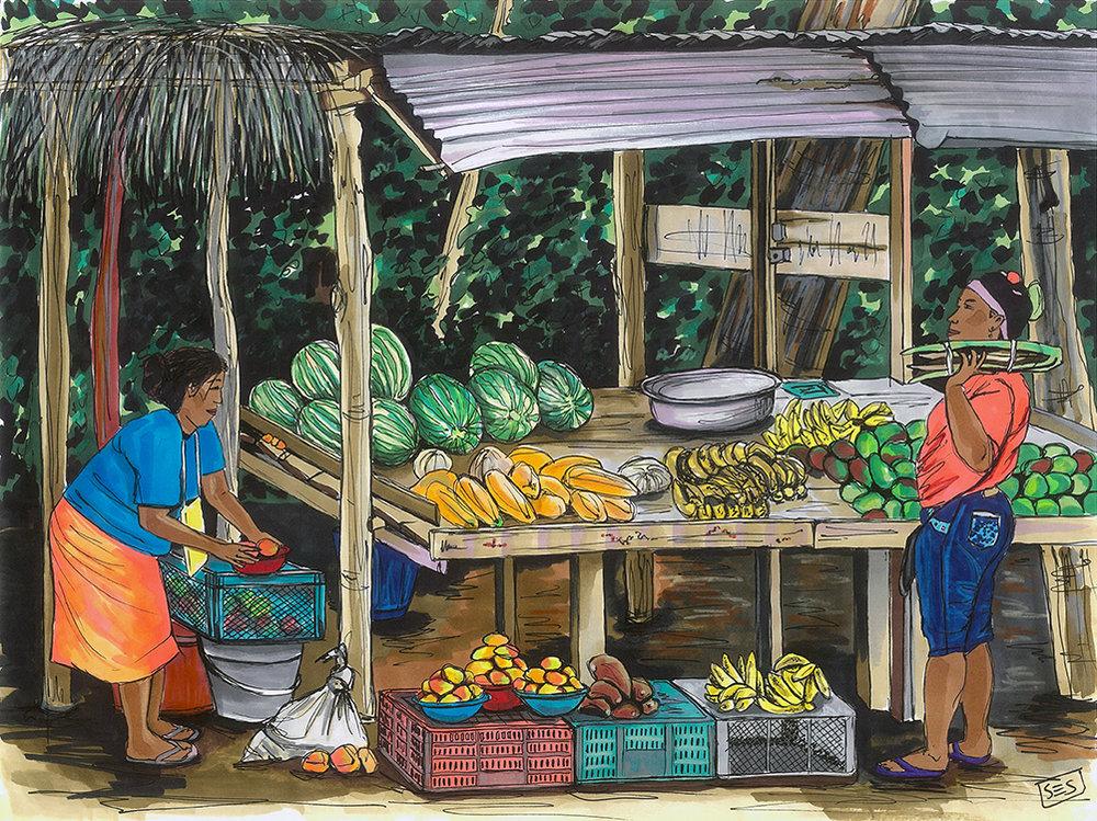 """Fruit Vendors in María la Baja, 11""""x14"""", 2015"""