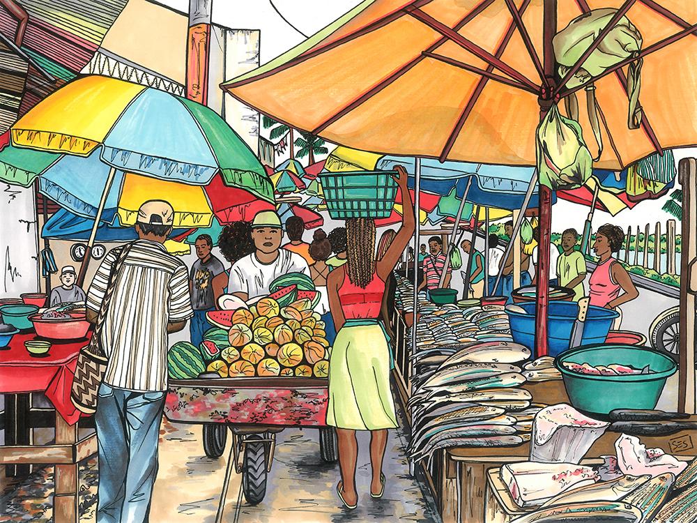 "Bazurto Mercado, Cartagena, 11""x14"", 2015"