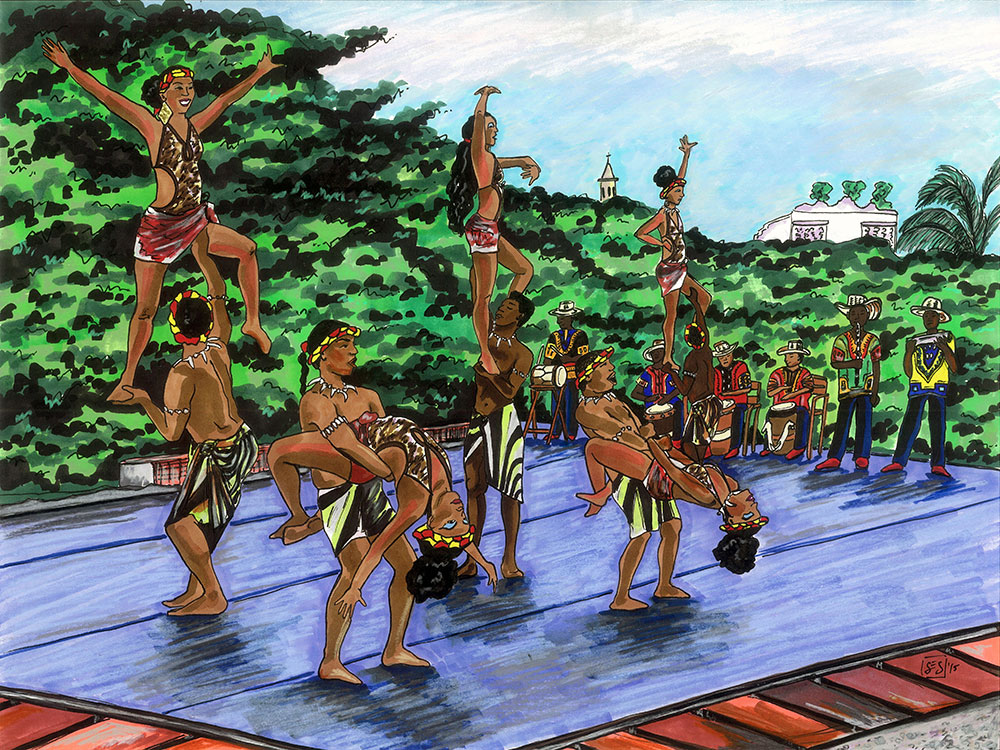 "Mapalé Dancers in Cartagena, 11""x14"", 2015"