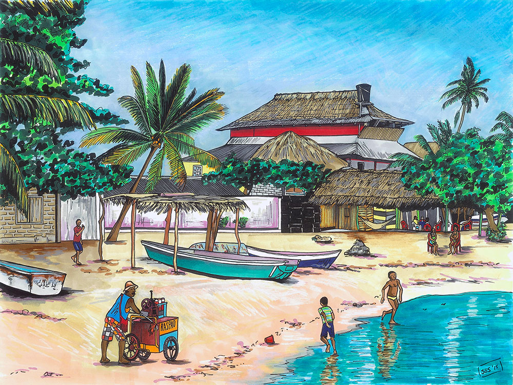 "Raspao Vendor on the Beach, 11""x14"", 2015"