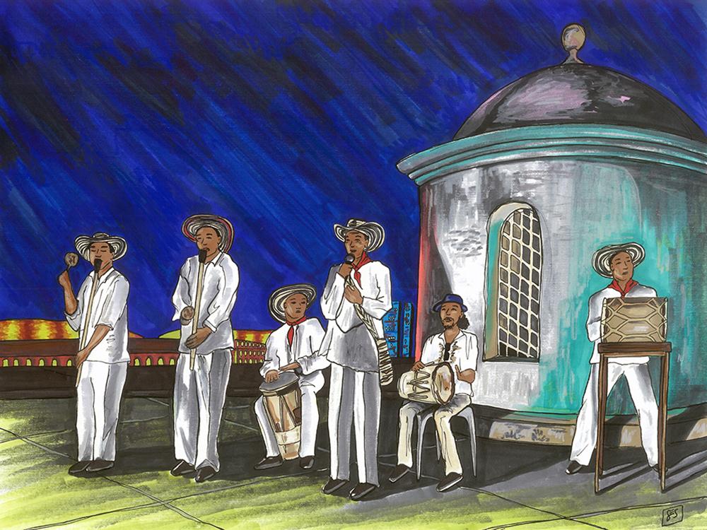 "Cumbia Musicians on Cartagena's Muralla, 11""x14"", 2015"