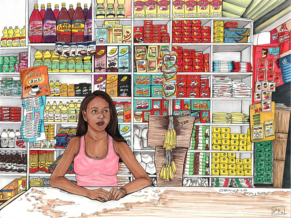 Girl Working at the Tienda, 18″x24″, 2016