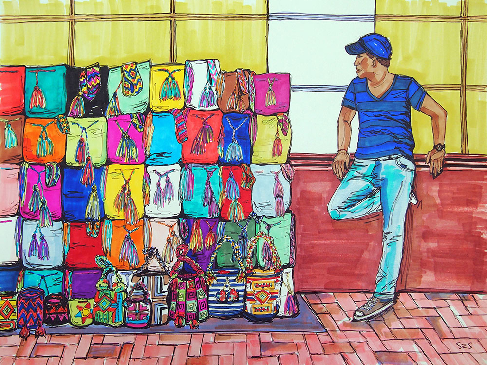 "The Mochila Vendor, 11""x14"", 2014"