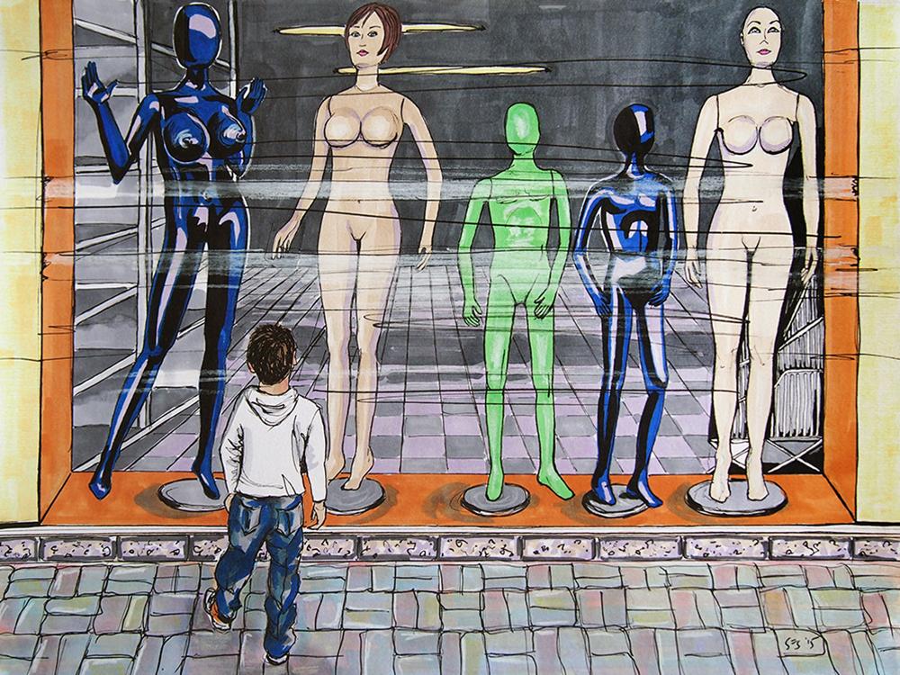 """Busty Mannequins in Barranquilla, 11""""x14"""", 2015"""