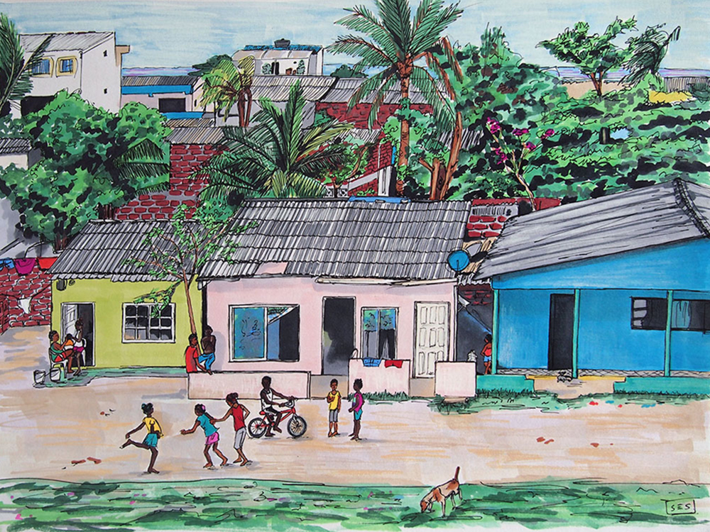 "Daily Life in La Boquilla, 11""x14"", 2015"