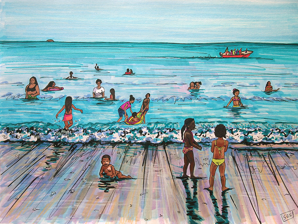 "Holiday Weekend in Rincón del Mar, 11""x14"", 2015"