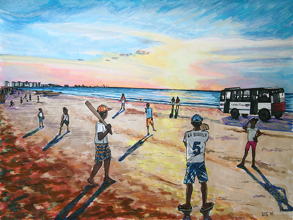 "Baseball in La Boquilla (commission), 11""x14"", 2014"