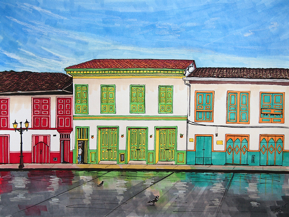 "La Plaza de Bolívar After the Rain, 11""x14"", 2015"