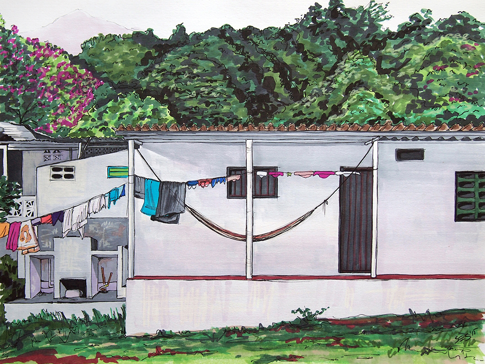 "House in Minca (commission), 11""x14"", 2015"