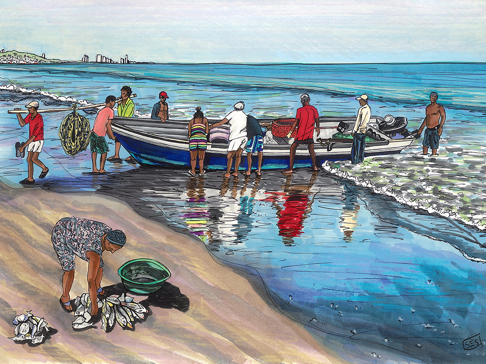 "Fishermen in La Boquilla, 11""x14"", 2015"