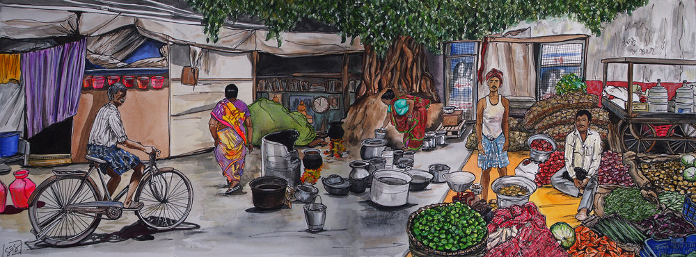 """Parry's Corner, Chennai, India. Watercolor on paper. 12"""" x 32"""" 2017."""