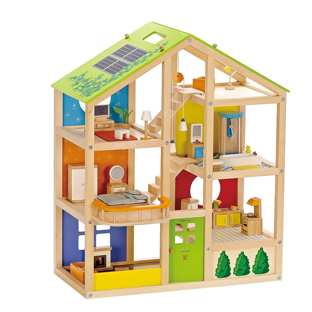 Hape All Seasons Wooden Dollhouse, Furnished