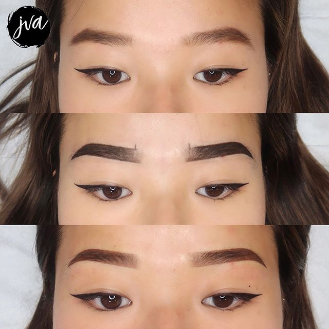 Subtle Brow Transformation ♥️ ✖️Amy preferred the low arch Korean-style brows - we kept it conservative with shape & colour incase she wants to go thicker or darker at touchup! 😊 . . . ✖️$350 w/ touch ups (New brows only) ✖️$400 coverup/correction w/ touch up ✖️Brows will last 1-2 years depending on lifestyle ✖️Suitable for anyone who wants a natural look - ideal for all skin types! (dry, combination, oily) ✖️painless - numbing is used throughout ✖️visit jvartistry.com for bookings | text or email for consultations ♥️ _______________________________________ $50 nonrefundable deposit is required to secure booking —————————————————