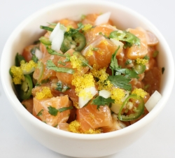 Salmon*   cilantro, sweet onion, serrano, yuzu tobikko, truffle oil, house ponzu