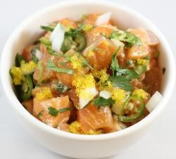 Salmon* yuzu tobikko, house ponzu, truffle oil, serrano, cilantro