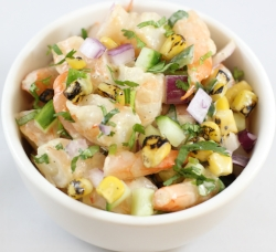 Shrimp charred corn, cucumber, cilantro, red onion, cumin-lime vinaigrette