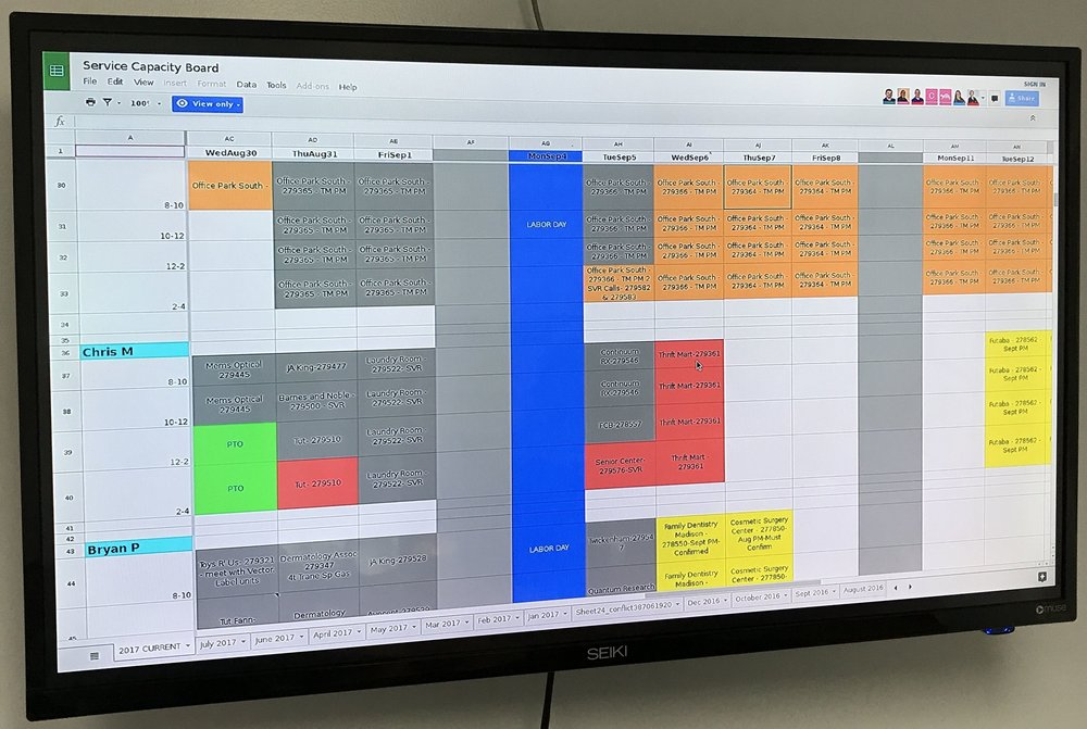 Custom Displays - Display employee work schedules, exam room patients, pet information in kennels or data that's important to your type of business on a managed device that stays secure and updated.