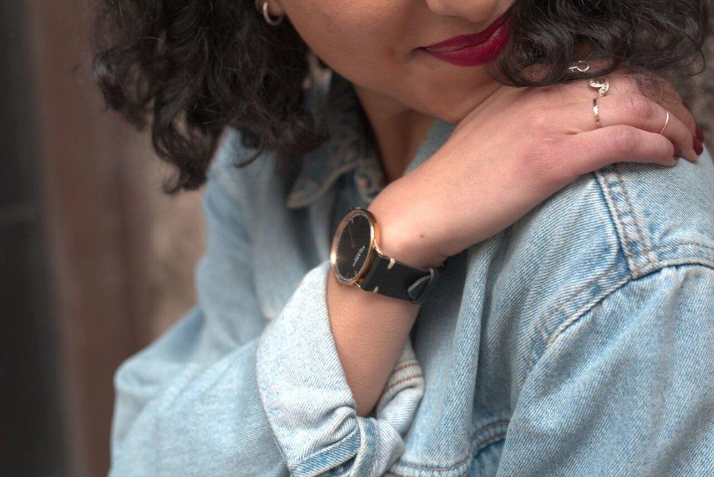 Ella with Rosegold Watch combined with our black handmade straps