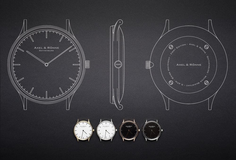 Sketch of elegant minimalist watches