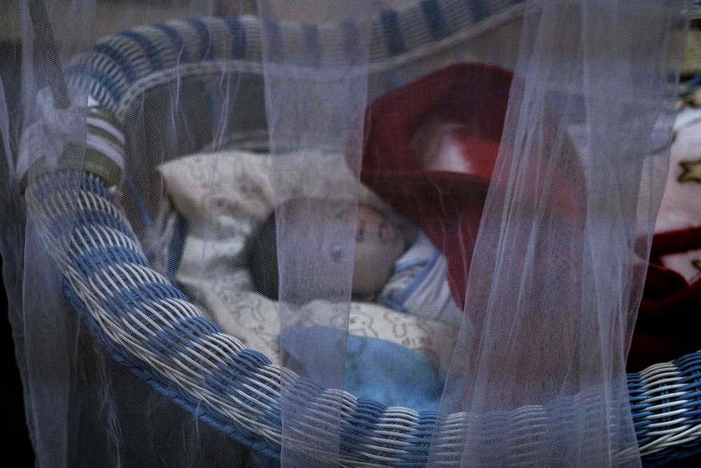 A newborn at al-Zuhour orphanage. (AP Photo/Maya Alleruzzo)