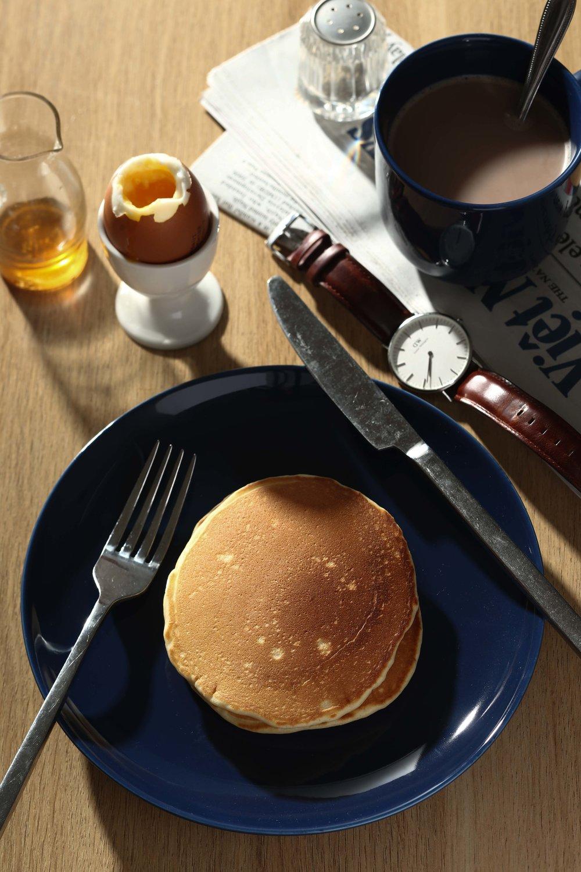 2. Pancake và trứng luộc đã được hoàn thành