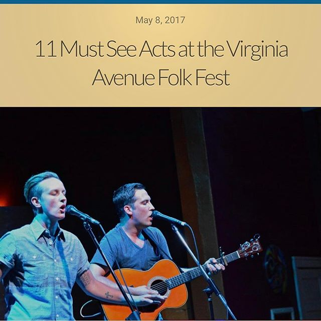 Nice little write up for the @virginiaavenuefolkfest - thanks to @coachnobody for the shout out! This Saturday, we play at 8:15 on the @squarecatvinyl stage! Be there!