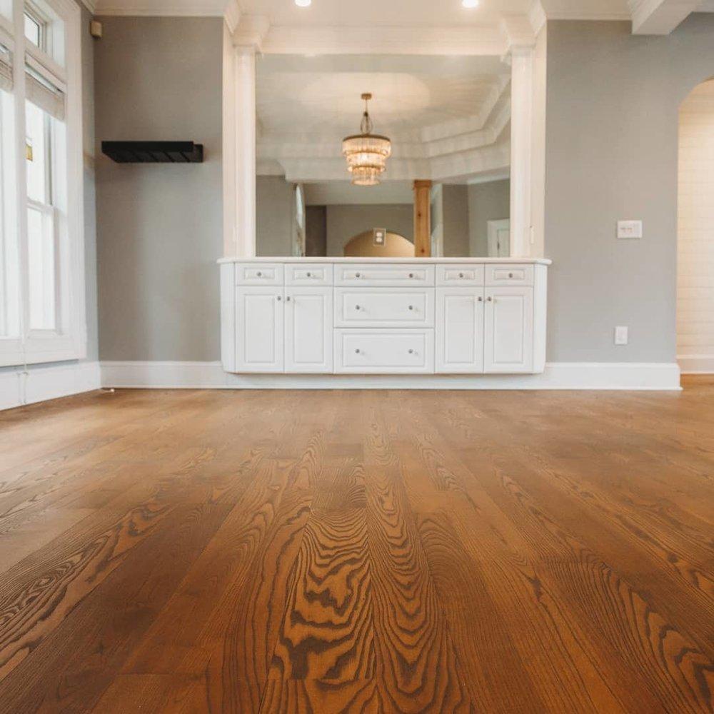 Hardwood floor refinishing project in Mooresville, NC