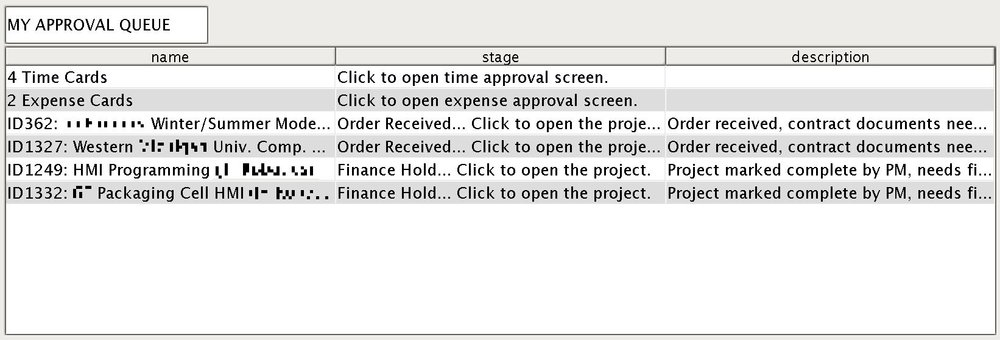 Approval Queue - This My Dashboard section shows you if there are time or expense cards or projects waiting for your review and approval. Click on a line to be taken to that item directly.