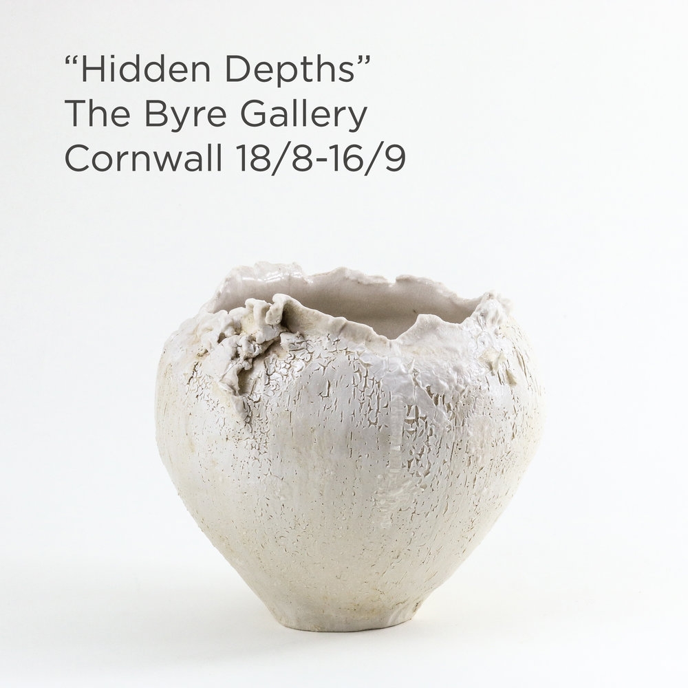 "Moon-vases - I'm delighted to share that a series of my textured and layered moon-vases will be part of the group exhibition ""Hidden Depths"" at The Byre Gallery, Hillside, Hounster Hill, Millbrook, Cornwall PL10 1AJ. The exhibition will run from 18th August until 16th September. Click on the image to see more."