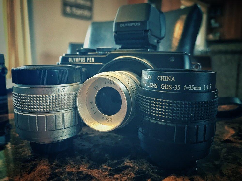 seen here are a 25mm f1.4 , 35mm f1.7, and 50mm f1.4 fujian cctv lenses.